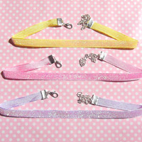Super glittery pastel coloured plain choker in pink, lilac, blue and yellow