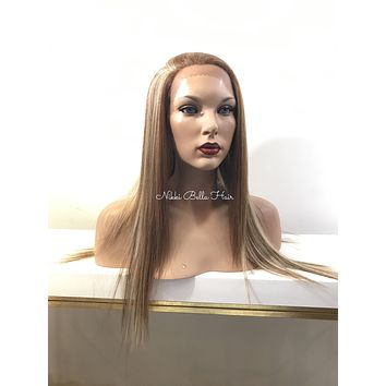 Frost Straight Blond Highlighted Human Hair Blend Multi Parting Lace Front Wig - Taylor