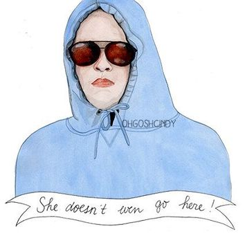 Mean Girls ''She doesn't even go here!'' Damian watercolor portrait PRINT illustration