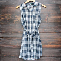 Plaid Flannel Sleeveless Shirt Dress