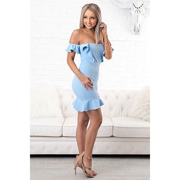 Sunkissed Off The Shoulder Dress (Light Blue)