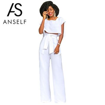 Anself Women's Suit Fashion Women Cropped Top Wide Legs Pants Set Short Sleeves High Waist Tie Two Piece Set Summer Ropa Outfits