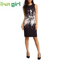 Summer Mini Dress Women Work Office Lady Sexy Sleeveless Floral Print Dresses Fashion Business Vestido Evening Party Club Dec29
