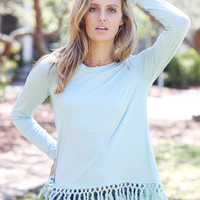 Long Sleeve Tassel Hem Top