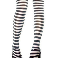 Black and White Stripes Over the Knee Stocking - Choies.com