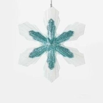 ONETOW 5.25' Snowy Winter Glittered White and Minty Blue Snowflake Christmas Ornament