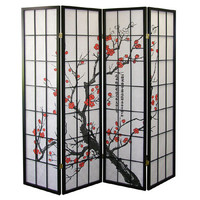 Hand Made Spring Blossom Japanese Shoji Screen Room Divider 4 Panel