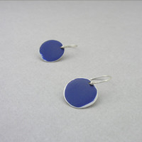 Blue and silver earrings, blue dot, drop, enamel and silver, minimalist geometrical earrings, everyday jewelry