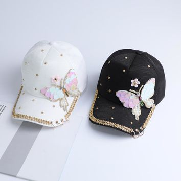 Summer Plain Cotton Women Metal Baseball Cap Snapback Hip Hop Caps 2017 Casual Butterfly Sequins Baseball Caps Hats