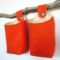 Tangerine Fabric Baskets Two Reversible by OneRedButtonCrafts