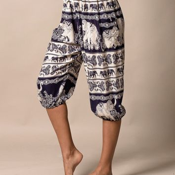 Elephant Print Crop Pants