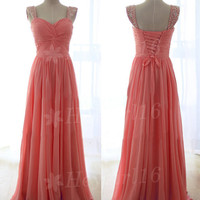 Beaded Coral A-line Straps Sweep Train Prom Dress/Graduation Dress
