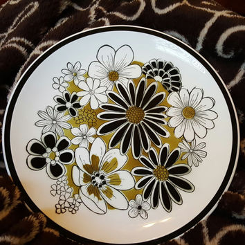"Mikasa Leilani Cera-Stone Chop Plate 12"" Round Platter Black Olive White Mid Century  Retro Mod Black Green Flowers"
