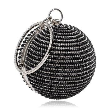 Family Friends party Board game 2018 New Fashion Women Pearl Beaded Diamond Tellurion Evening Bag Bridal Wedding Round Ball Wrist Bag Clutch Purse Handbag AT_41_3