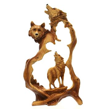 Animal HOWLING WOLF WOODLIKE CARVING Polyresin Family Wild Nature Mmd182