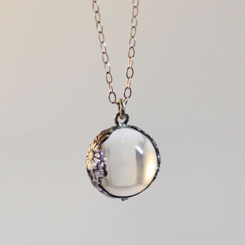 Antique Sterling Silver Edwardian Pools of Light Rock Crystal Orb Pendant