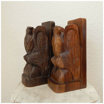 Vintage Hand Carved Heavy Dark Wood Eagle Bookends Philippines