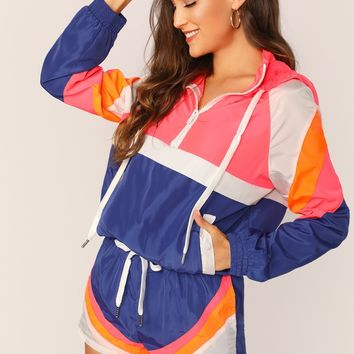Hooded Colorblock Windbreaker And Shorts Set