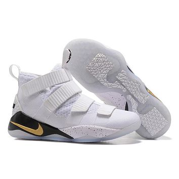 nike lebron soldier 11 ep white gold basketball shoes us7 12  number 1