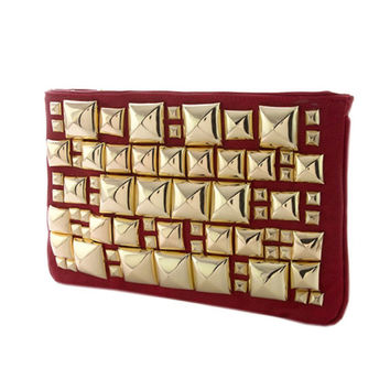 Andreya Gold Studded Red Clutch