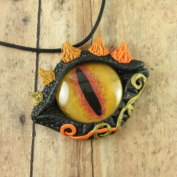 Dragon Eye Necklace, Large Dragon Eye Pendant, Dragon Polymer Clay Jewelry, Dragon Jewelry Pendant Charm, Fantasy Jewelry, Magical Necklace