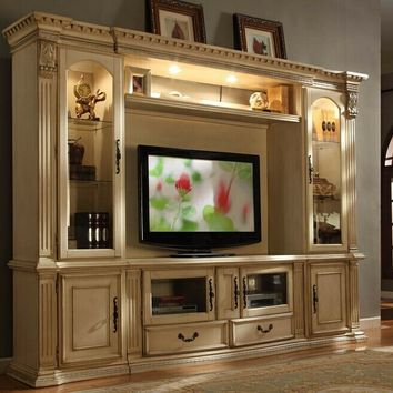 4 pc Florenza II collection white wash wood finish TV entertainment center wall unit with glass cabinets