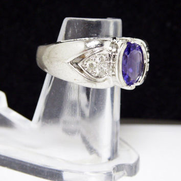 Sterling Silver & Purple Gemstone Ring - Clear CZ Encrusted Hearts - Large Chunky Vintage 1980's Costume Jewelry Signed STER