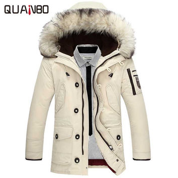 Brand clothing jackets thick keep warm men is down jacket high quality fur collar hooded down jacket winter coat Male