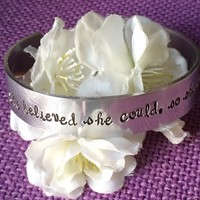 She believed she could, so she did - Cuff - Motivation Cuff - Hand stamped bracelet - Personalized cuff - Graduat gift