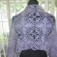 Purple lace flower pattern crochet wrap, scarf, shawl
