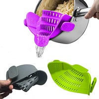 Silicone kitchen strainer clip-on colander