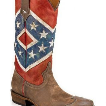 Roper Distressed Rebel Flag Cowgirl Boots - Snip Toe - Sheplers
