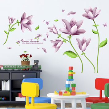 Purple flower sitting room bedroom home decoration wall stickers on the wall SM6