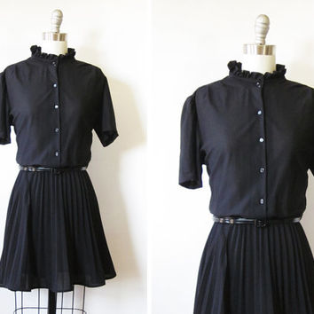 vintage black 70s dress / 1970s ruffled collar accordion pleated shirt dress / medium large black semi sheer mini dress