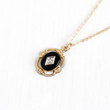 Shop art deco diamond pendant on wanelo vintage 14k rosy yellow gold black onyx genuine diamond pendant aloadofball Choice Image