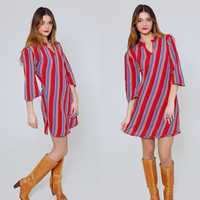 Vintage 90s STRIPED Mini Dress Cotton Beach Cover Up Burgundy Stripe Tunic