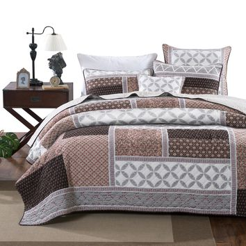 DaDa Bedding Neapolitan Roses Patchwork Geometric Quilted Bedspread Set (JHW816)