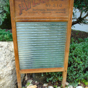 Antique Primitive Americana , Atlantic National Washboard,  1920 Patent 1283148 , Ribbed  Glass Scrub Board ,  Farm Barn Cottage Decor