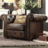 Lindenfield Bonded Leather Tufted Rubberwood Chesterfield Armchair with Bun Feet by Home Creek