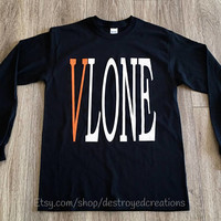 VLONE Staple Black Long Sleeve T Shirt VLONE Friends Asap Rocky Tee