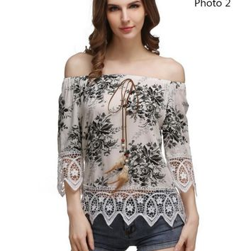 Fashion sexy off shoulder strapless print lace splicing top-2