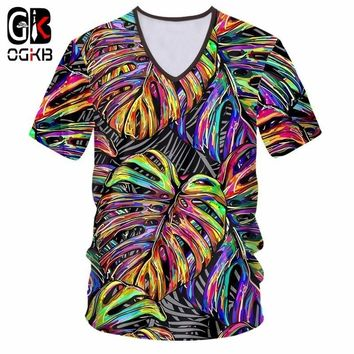 OGKB Mens V Neck Tshirt Cool Print Colorful Leaf 3d T-shirt Man Hip Hop Fitness Workout Casual T Shirt Quick Dry Unisex Harajuku