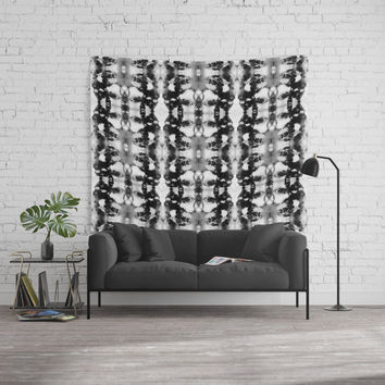 Tie-Dye Blacks & Whites Wall Tapestry by ninamay