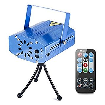 Coidea MIni LED Projector Strobe 7 Modes Sound Actived Auto Flash Rgb Led Stage,Disco, DJ Lights with Remote Control (Blue)