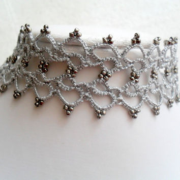 Tatting (Frivolite) Lace Collar Necklace - Tatted Silver Choker, Silver choker necklace, Tatted choker necklace , Tatting jewelry