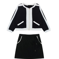 Color Block Three Piece Coat and Skirt Set