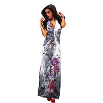 New Sexy 3 Colors Women Big Flower Printed Summer Dresses Halter Maxi Casual Beach Dress 4171
