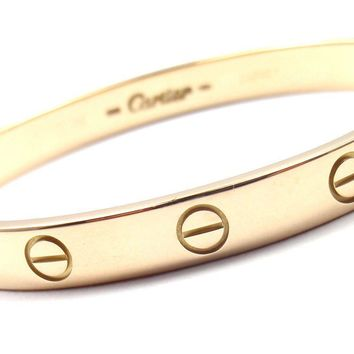 One-nice? Authentic! CARTIER 18k Yellow Gold Love Bangle Bracelet Size 16 Box Screwdri