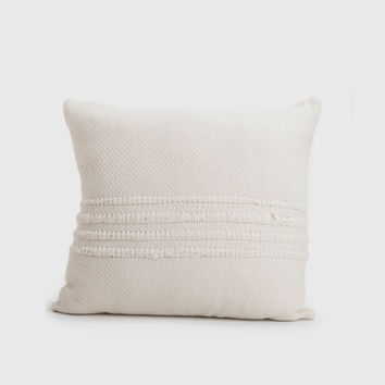 Ivory Wool Striped Pillow