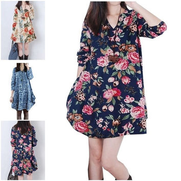 Women's Fashion Autumn Casual Print Long Sleeve V-Neck Maternity Dress Cotton Linen Clothes For Pregnant 2B036 = 1946548036